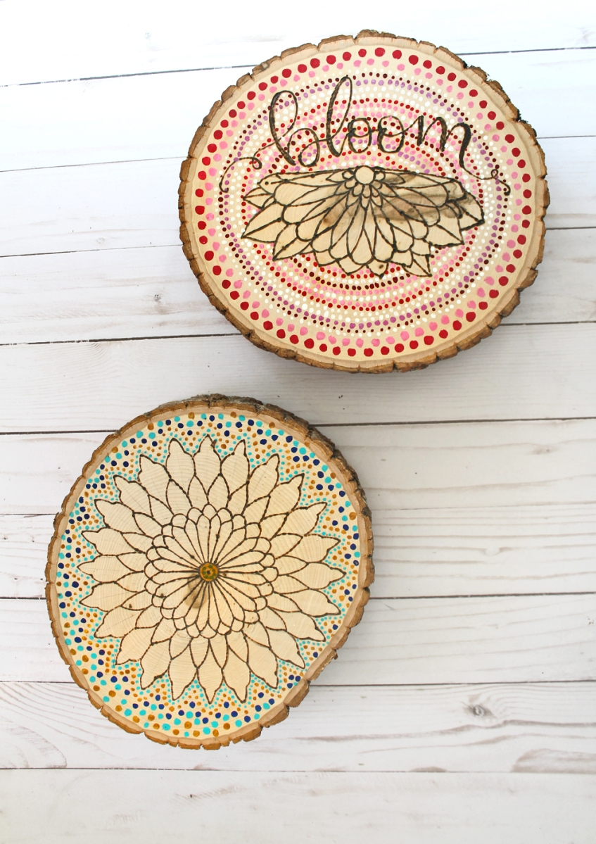 DIY Wood Burned Mandalas
