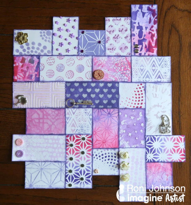 Create a Beautiful Lavender Mosaic with Ink and Stencils