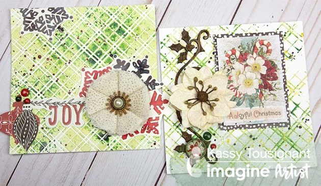 Use a Plaid Stencil for a Mixed Media Christmas Card