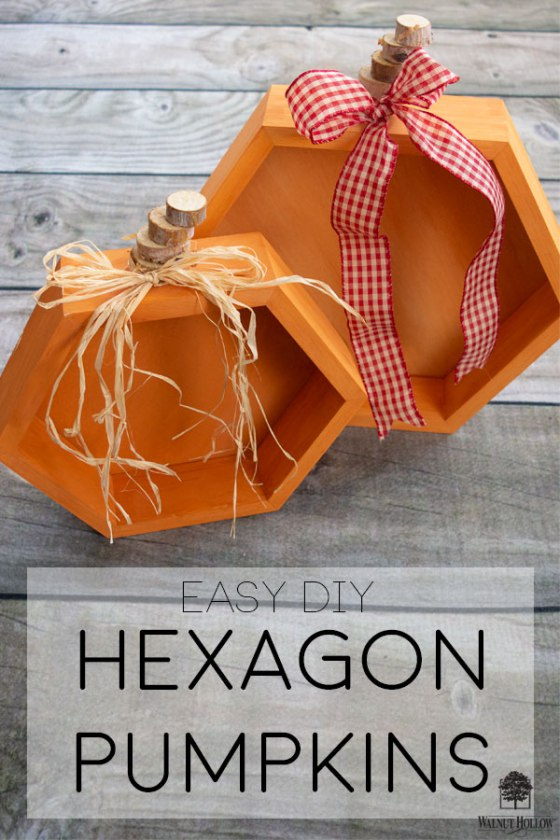 Make these simple Hexagon Pumpkins in just 30 minutes! #hexagon #pumpkins #fall #walnuthollow