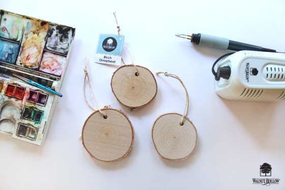 DIY Watercolor and Wood Birch Ornaments