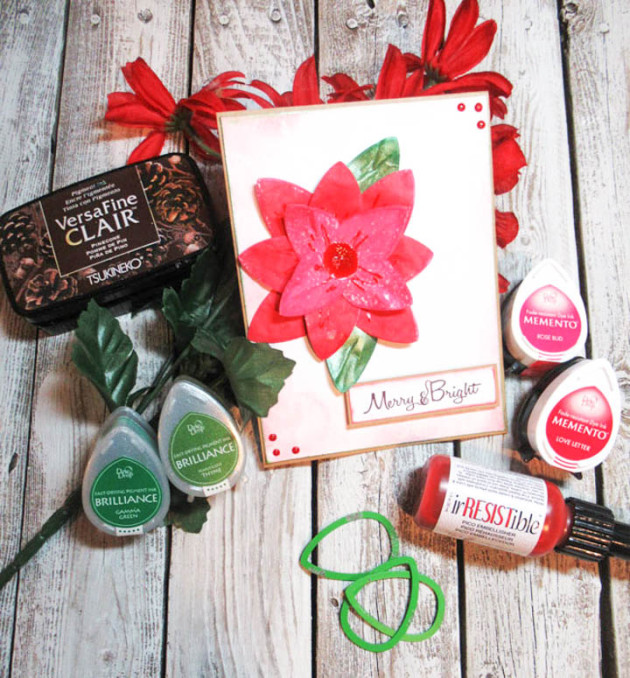 Create Paper Poinsettias with Memento Ink and Dewlets