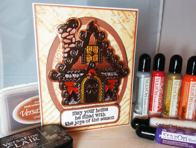 See How to Create a Gingerbread House with Rinea Paper and StazOn Studio Glaze