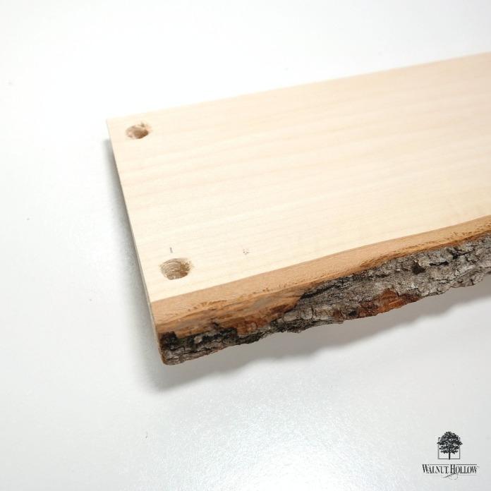 Bark Edge Board Hanging Shelf Holes by Dana Tatar
