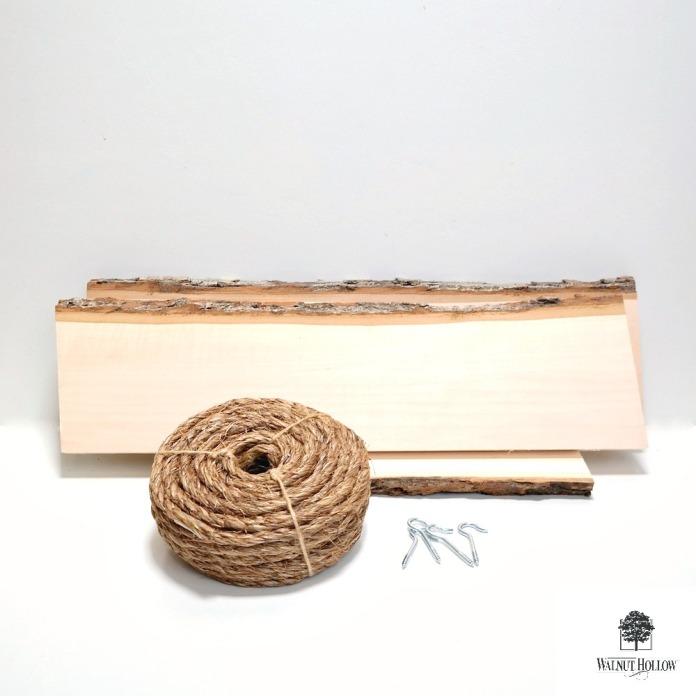 Bark Edge Board Hanging Shelf Supplies by Dana Tatar