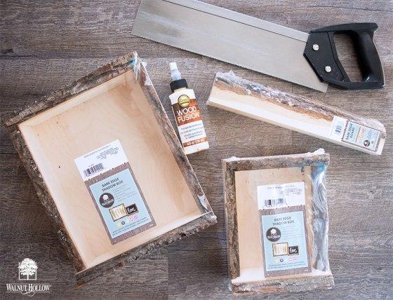 Bark Edge Shadow Box Shelf Supplies