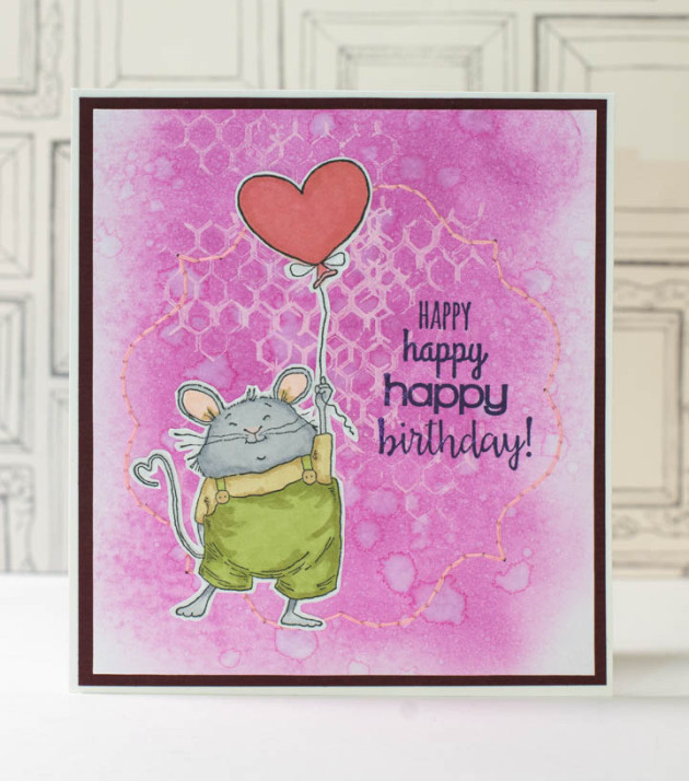 See How to Use Acrylic Paint and Embroidery on a Birthday Card with Memento Inkpad and Craft Paints