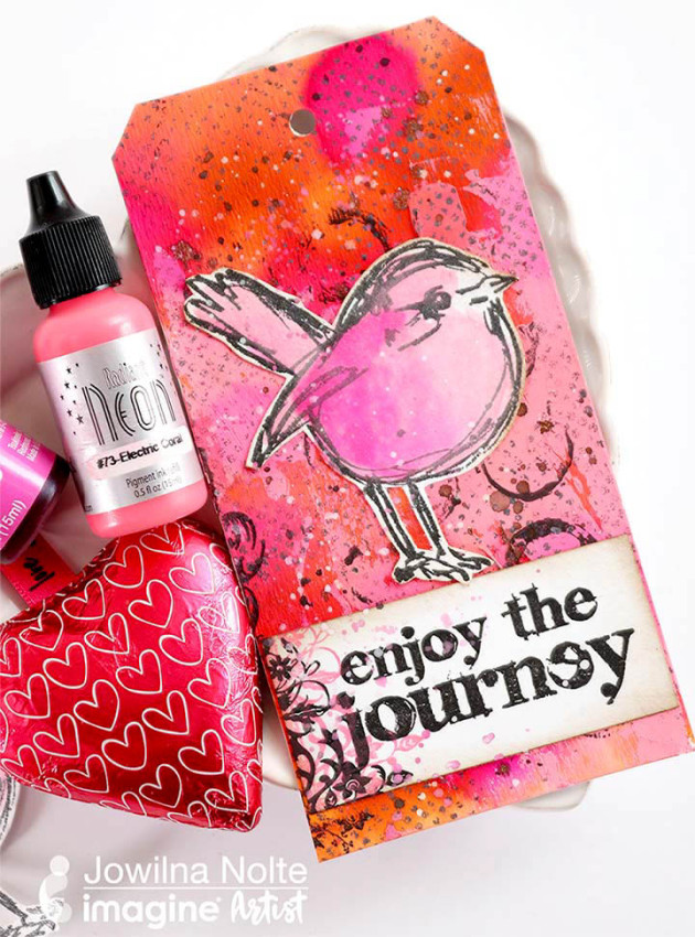 See How to Use Inkers for a Mixed Media Tag